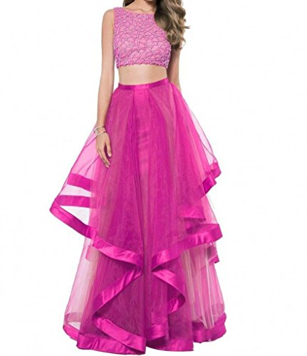 Prom Beaded Layered Party Long Evening Two Fuchsia ANGELA Gowns Dresses Piece Women's 6IwSnxq5