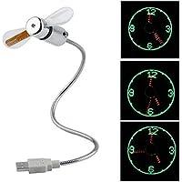 Led Fan Clock, Yokon Desktop Cool Gadget with Time Display Function , Durable Mini Flexible Desk Fan gadgets