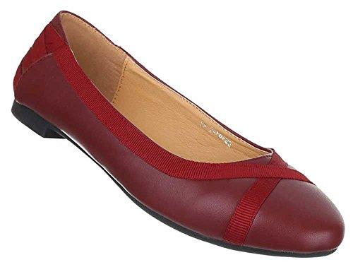 Damen Schuhe Halbschuhe Elegante Ballarinas Übergrößen 41 - 44 Weinrot