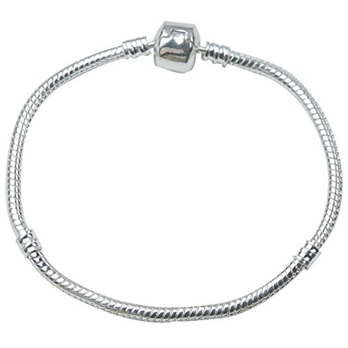 8'' Starter Classic Chain Bead Barrel Clasp Silver Plated Wire Bracelet Jewelry Making 8' Snake Chain Bracelet