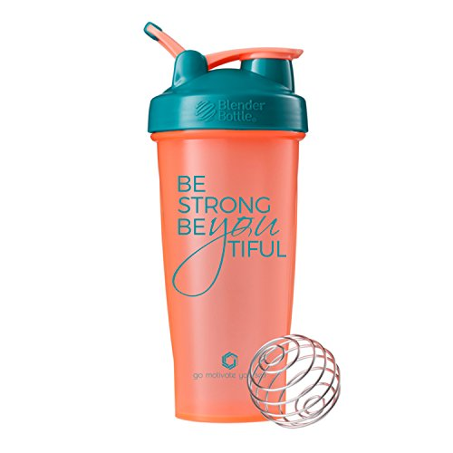 Be Strong BeYOUtiful on BlenderBottle brand Classic shaker cup, 28oz Capacity, Includes BlenderBall whisk (Coral/Teal - 28oz)