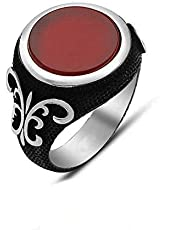 Sterling silver ring with 925 onyx red stone