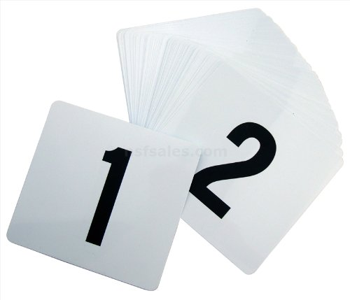 New Star 23176 1 to 50-Double Side Plastic Table Numbers, 4 by 4-Inch, Black on White
