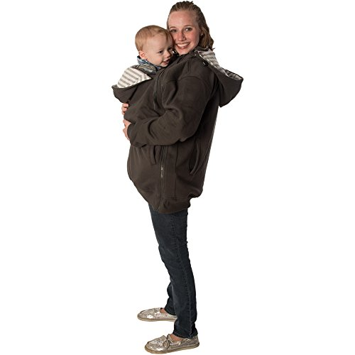RooCoat Babywearing & Maternity Coat 2.0 Charcoal with Gray Stripes Small