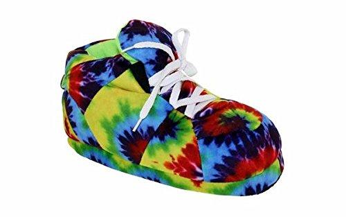 1135-5 - Tie-Dye Hippie - XX-Large - Happy Feet Sneaker Slippers -