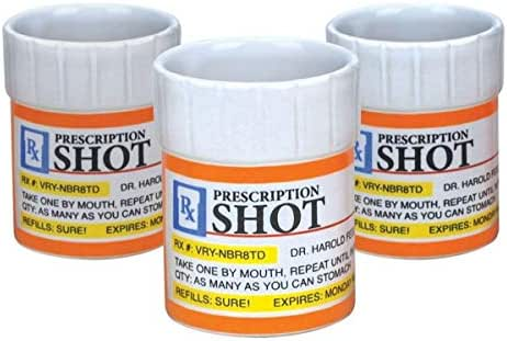 BigMouth Inc Prescription Pill Bottle Shaped Shot Glass Set, 3-Pack, Perfect Funny Gag Gift
