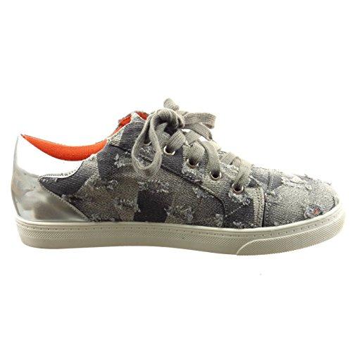Sopily - Scarpe da Moda Sneaker slip-on alla caviglia donna lucide lines Tacco a blocco 2 CM - Grigio