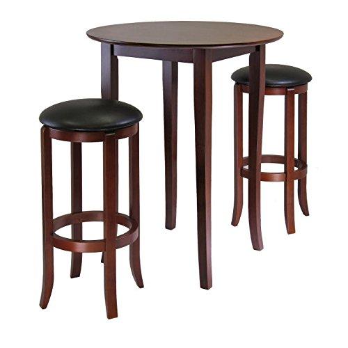 Beachwood Bar Stool (Winsome Fiona 3-Piece Round High Pub Table Set in Antique Walnut Finish)