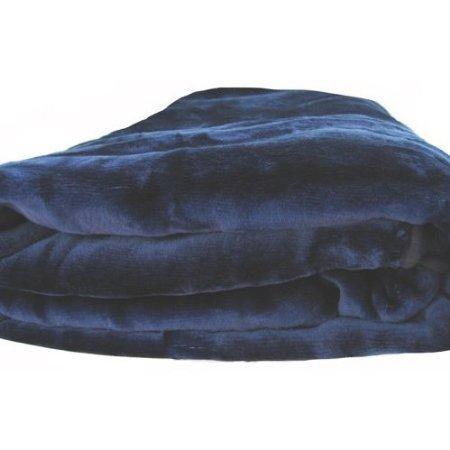 Sara Solid Mink Bed Blanket, Queen/Full, Navy Blue