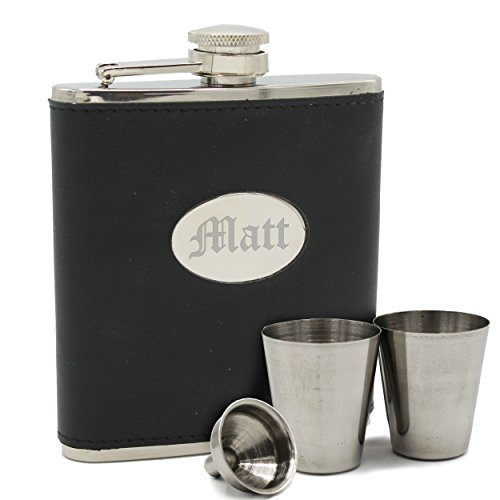 Personalized Black Flask Set - Groomsmen Gift, Bachelor Party Hip Spirit Flask - Custom Engraved Monogrammed for Free