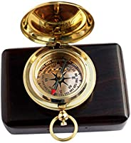 MAH Handmade Brass Push Button Engravable Direction Pocket Compass.