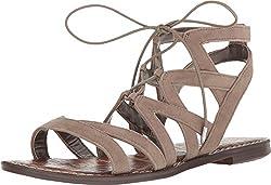 Sam Edelman Women's Gemma Putty Kid Suede Leather Sandal