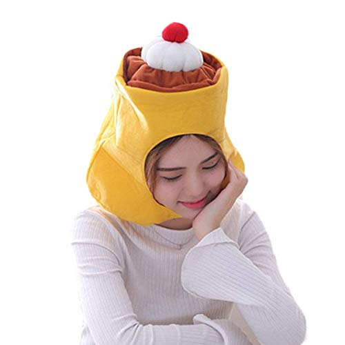 (Funny Plush Pudding Caps Hat Head Cover Mask Headgear Hood Clothing Costume Accessories Toys Gift Cosplay Halloween Christmas Easter Party Kids Adult Children Women Girl Girlfriend)