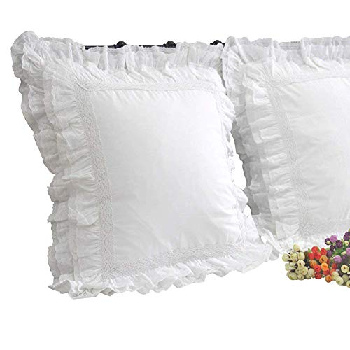 Queen's House Luxury Lace White Euro Shams Pillow Covers 26x26 Set of 2-M