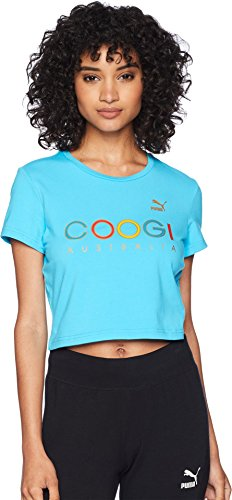 PUMA Women's x Coogi Crop T-Shirt Blue Atoll Large