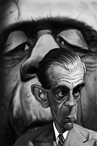 """THIS WEEK ONLY BUY ONE GET ONE FREE. Boris Karloff Frankenstein """"Scientist"""" Caricature Very Limited Edition (1 of 20) Giclee on Canvas: Signed, Numbered, Certificate of Authenticity, Ready to Hang, Great Home & Office Wall Decor, Gift"""
