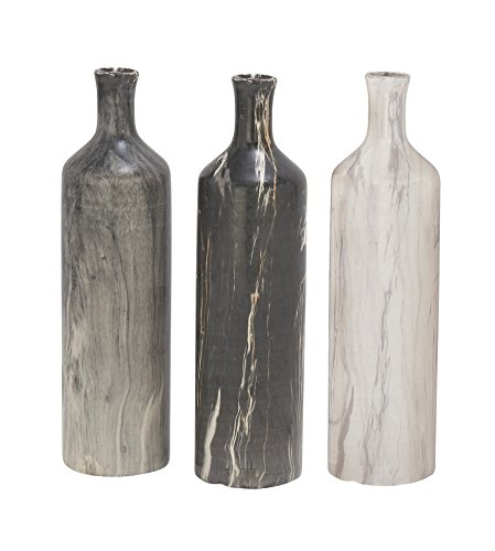 "CosmoLiving by Cosmopolitan 93692 Handmade Tall Cylindrical Ceramic Vases with Glossy Black, White, Gray Marble Finishes | Set of 3: 3"" x 13"" Each - Three assorted 13 inch Suitable to be use as decorative items This product is manufactured in China - vases, kitchen-dining-room-decor, kitchen-dining-room - 41QhppGLEJL -"