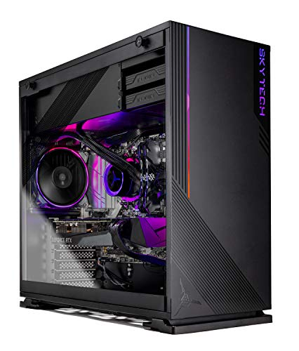 Skytech Azure Gaming PC Desktop - AMD Ryzen 5 3600X 3.8GHz, RTX 3070 8GB, 16GB DDR4 3600, 1TB Gen4 SSD, B550 Motherboard, 650W Gold PSU, Windows 10 Home 64-bit, Black