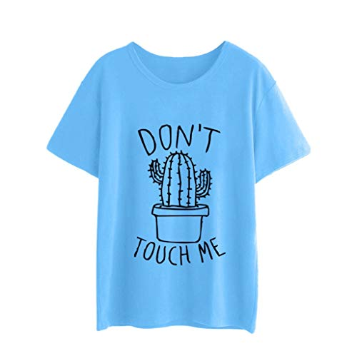 Fheaven Women Girls Blouse Plus Size Don't Touch me Print Tees Shirt Short Sleeve Cotton T Shirt Tops (2XL, Sky Blue)
