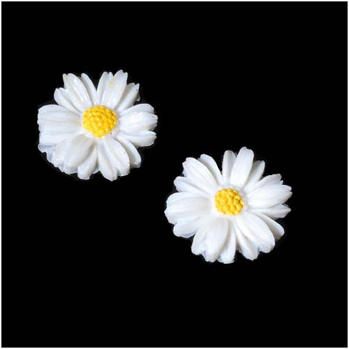 Beadaholique Vintage Look Lucite Cabochon Carved White Flower 19mm (2) -