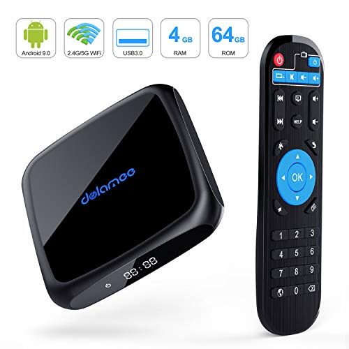 Android 9.0 TV Box,D18 Smart TV Box 4GB RAM 64GB ROM Amlogic Quad Core 64bit,Support 2T2R Dual Band WiFi 5G 2.4G/HDR H.265 3D 4K@60fps,USB 3.0 HDMI 2.1Media Player Box (Best Budget Android Tv Box)