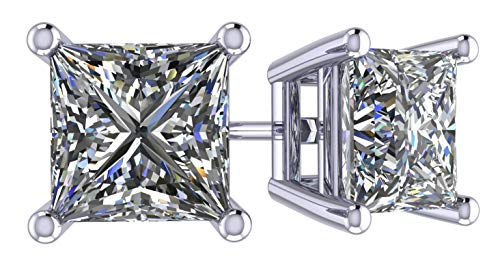 NANA Princess Cut Sterling Silver & Surgical Stainless Steel CZ Stud Earrings - Rhodium Plated - 7mm-4.0cttw