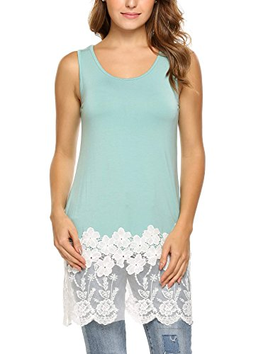 Ribbed Top Lace Tank (Zeagoo Women Round Neck Lace Trim Tunic Tank Top Layering Cami Green S)