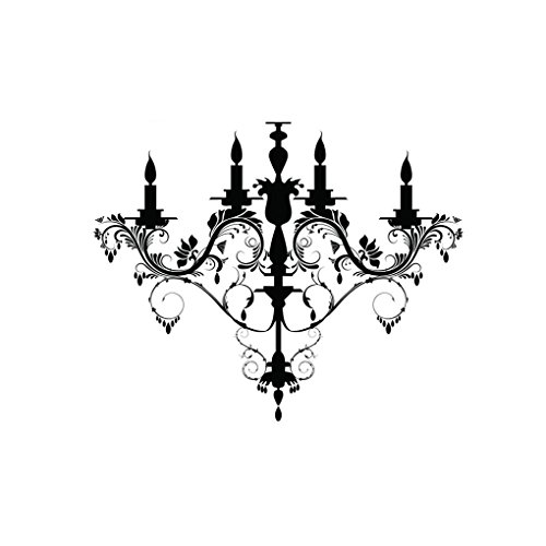 DNVEN 23 inches x 19 inches Burnish Chandelier Ceiling Black Silhouette Door Wall Decals Stickers Removable Vinyl Arts for Children's Day Nursery Kids Bedrooms Family Playroom Classroom ()
