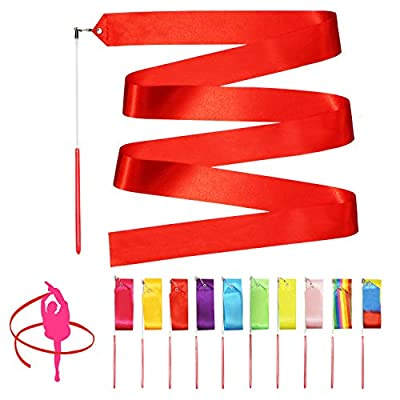 Novelty Place 10 Pieces Dance Ribbons Streamers - 6.6Ft Unisex Kids' Gymnastics Ribbon Wands - Perfect Rhythm Sticks for Talent Shows, Artistic Dancing, Baton Twirling (10 Colors): Home & Kitchen