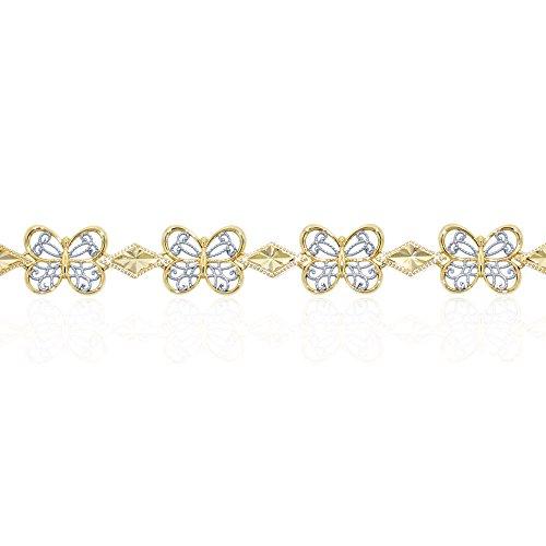 10k Charm Bracelet (Gold Butterfly Bracelet, 10k Solid Gold)