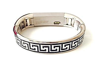 BSI Premium Metal Bracelet For Fitbit Alta And Alta HR Activity Tracker Silver Color Shiny Gloss Finish Slim Greek Keys Design Small Size