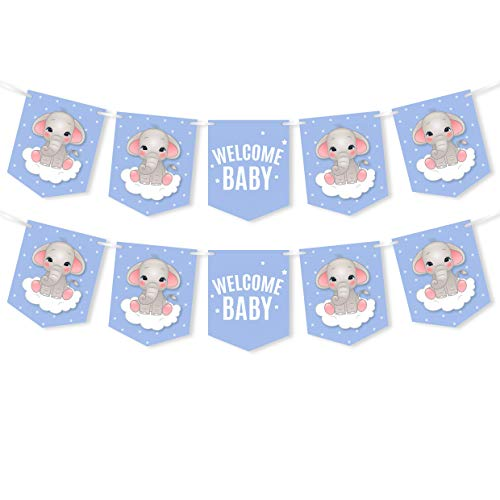 Blue Elephant Party Banner - Welcome Baby - Boy Baby Shower Decorations Supplies - 2 Pack -