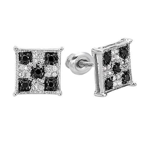Dazzlingrock Collection 0.25 Carat (ctw) Black & White Round Cut Diamond Square Shaped Micro Pave Stud Earrings 1/4 CT, Sterling Silver