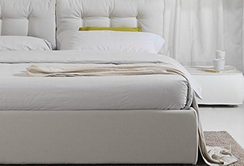Cama de matrimonio de 220 x 174 cm, de piel sintética, blanca, moderna, de dos plazas con somier de láminas