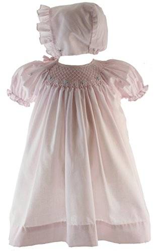 Hiccups Childrens Boutique Girls Pink Smocked Take Home Dress Bonnet Layette 6M