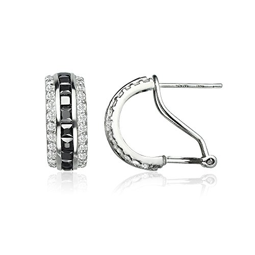 Sterling Silver Black Cubic Zirconia Channel-Set Half Hoop Earrings (Set Hoop Half Earring)