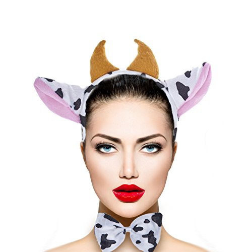 (Lux Accessories Halloween Cow Horn Bow Tail Ear Costume Accessories Set)