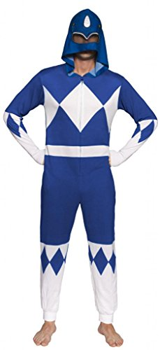 Power Rangers Blue Ranger Adult One Piece Pajama Union Suit
