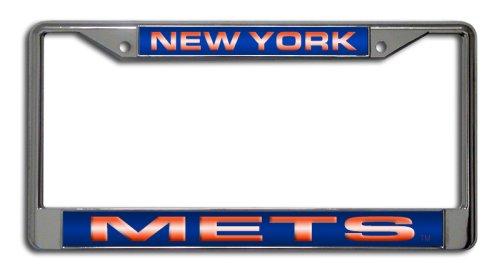 (MLB New York Mets Laser-Cut Chrome Auto License Plate Frame)