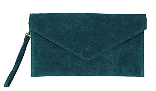 Teal Party Envelope Purse Leather Clutch Suede Dark Benagio Dark Green New Womens Italian Wedding Real Bag wWPqqR0Z