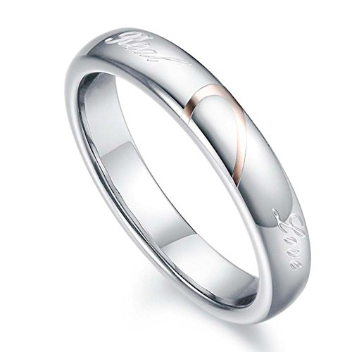 Mens Womens Heart Titanium Steel Promise Ring Real Love Couples Wedding Band Rings for Him and Her Women's Ring 4mm Width Size ()