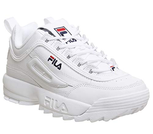 Original Fitness Sneaker - Fila Unisex Disruptor II Premium Leather Synthetic White Trainers 7.5 W / 4 M US