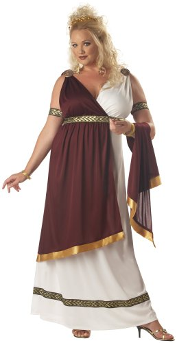 California Costumes Women's Roman Empress Costume,White/Burgundy,X-Large (Plus Size Greek Goddess Costume)