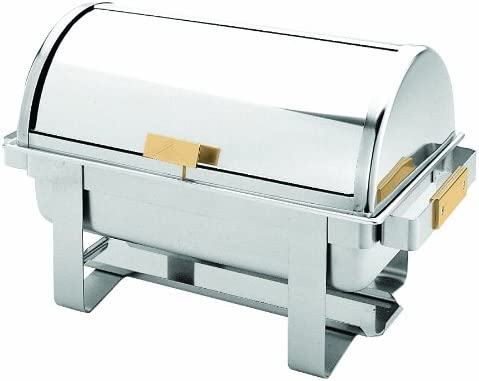 Excellant Stainless Steel 8 Quart Roll Top Golden Handle Chafer