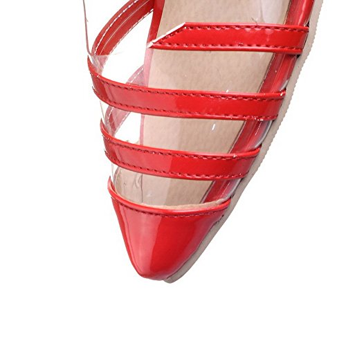 Red AllhqFashion On Toe Solid Pumps Heels High Women's Pointed Pull Shoes Closed qS8rqPTwxX