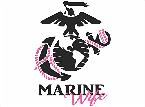 Marine Wife, Daughter, Mom or Sister / BLACK / Vinyl Vehicle Military Family Support Graphic Decal Sticker (Wife) - Wife Supports