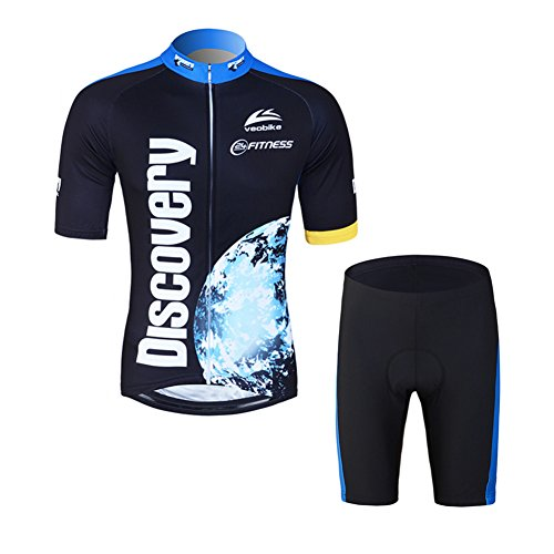 Mens Cycling Jersey Shorts Set - LSERVER 2017 New Design Earth Print 3D Padded Shorts Cycling Jacket Men Set Black & Blue