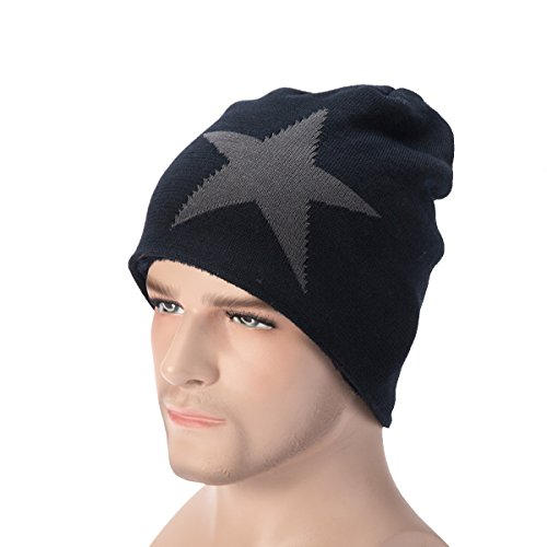 Classic Star Slouchy Beanie - WinCret Winter Warm Knit Hat with Thicker Flannel and Soft Beanie Hat for Men and Women (Big Star Visor)