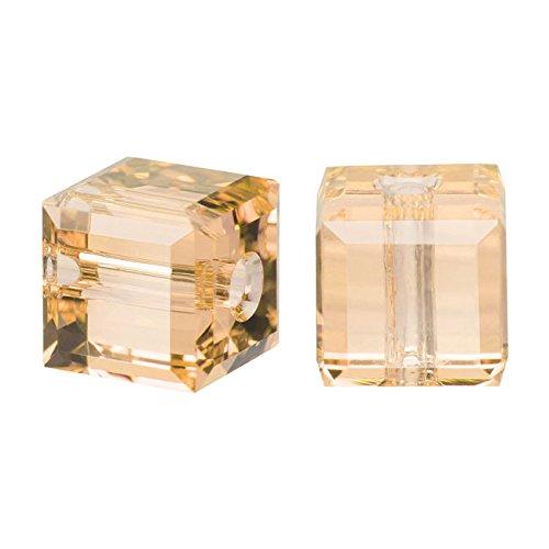 - Swarovski Crystal, 5601 Cube Beads 4mm, 10 Pieces, Crystal Golden Shadow