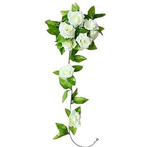Fake Flowers,Neartime Artificial Rose Floral Rattan Green Leaf Vine Home Wedding Decor 111
